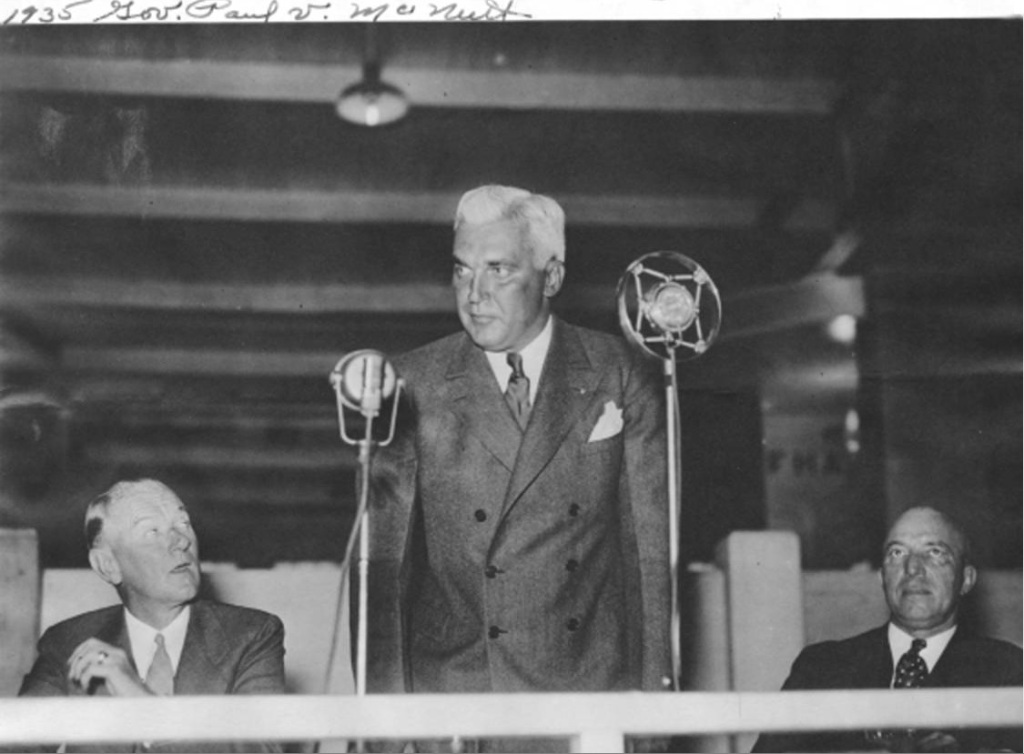 Indiana Governor Paul V. McNutt (1933-1937). His reforms of the Indiana state government during the Great Depression still influence the state today. Courtesy of the Indiana Historical Society.
